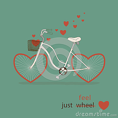 Free Vintage Card In Vector. Cute Bike With Hearts Inst Royalty Free Stock Image - 32784296