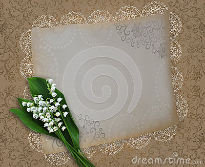 Vintage card with lilies of the valley on a shabby decorative ba