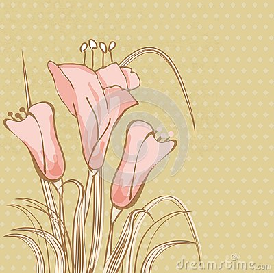 Vintage card with multicolored lily flowe