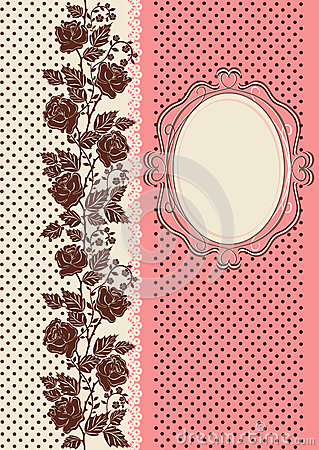 Vintage card ornamented with silhouettes of roses