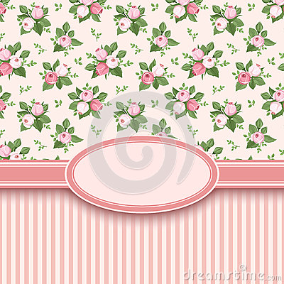 Vintage card with roses and stripes.