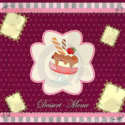 Vintage card with a strawberry dessert