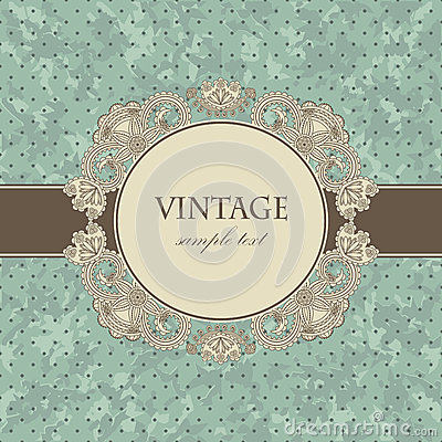 Free Vintage Card With A Floral Frame Stock Image - 26332271