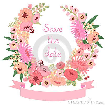 Free Vintage Card With Floral Wreath. Save The Date. Stock Photos - 39148843
