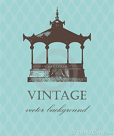 Free Vintage Card With Old Pavilion. Royalty Free Stock Images - 15830329