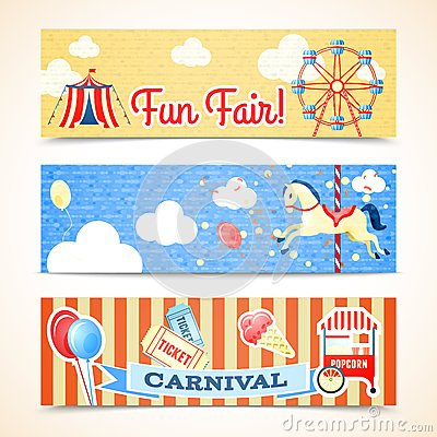 Vintage carnival banners horizontal Vector Illustration