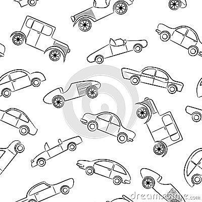 Vintage cars doodles pattern