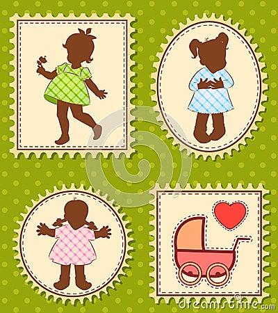 Vintage cartoon little girls