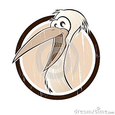 Vintage cartoon stork