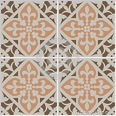 Vintage yellow tile bathroom - Vintage Ceramic Mosaic Floor Tile Seamless Pattern Stock Vector