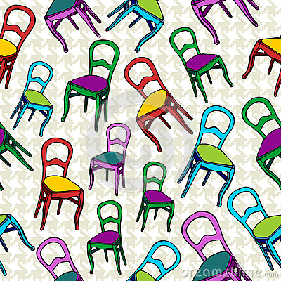 Vintage chairs seamless pattern background.