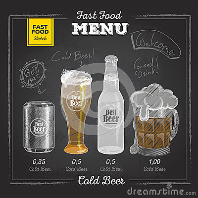 Free Vintage Chalk Drawing Fast Food Menu. Cold Beer Royalty Free Stock Image - 59165586