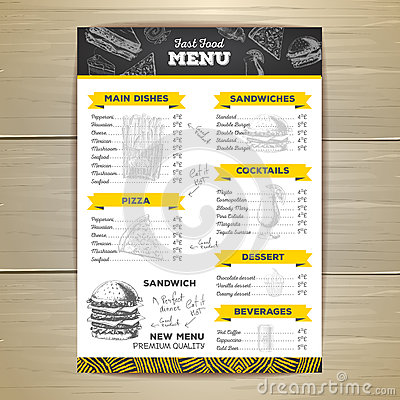 Vintage chalk drawing fast food menu design. Vector Illustration