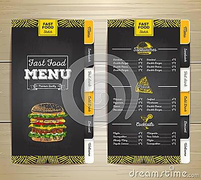 Vintage chalk drawing fast food menu. Sandwich sketch Vector Illustration