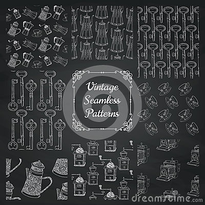 Free Vintage Chalk Drawing Seamless Patterns On Board Stock Images - 56445874
