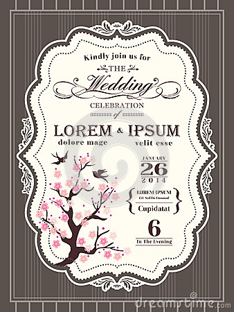 Vintage cherry blossom Wedding invitation border and frame Vector Illustration