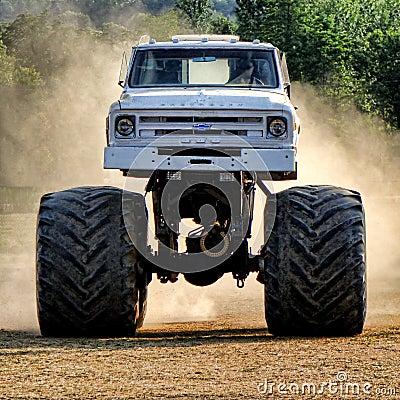 Vintage Chevrolet Monster Truck Racing in Dust