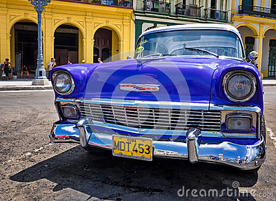 Vintage Chevrolet parked in Havana Editorial Stock Image