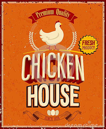 Free Vintage Chicken House Poster. . Royalty Free Stock Photos - 33212218