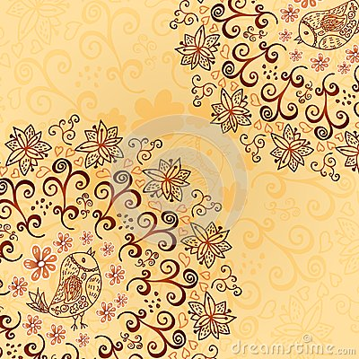 Vintage chocolate and cream ornament background