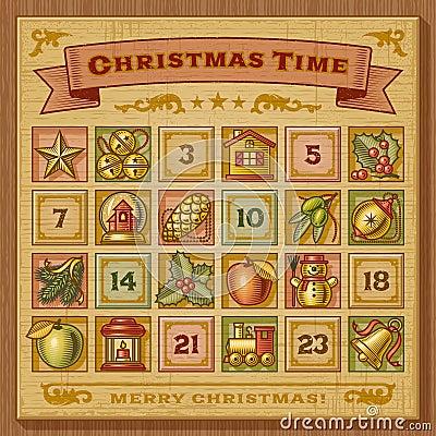 Free Vintage Christmas Advent Calendar Royalty Free Stock Image - 27618856
