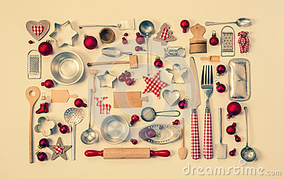 Vintage christmas background with a collection of many red check Stock Photo