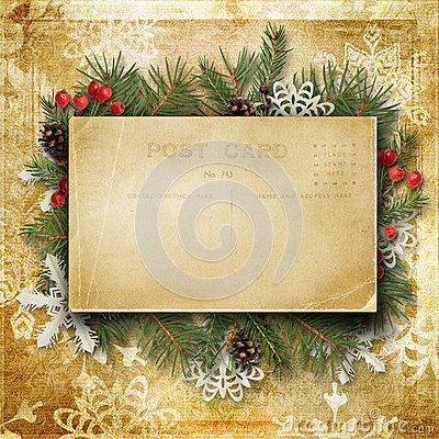 Free Vintage Christmas Background With Old Postcard, Branches And Hol Stock Photos - 47729163