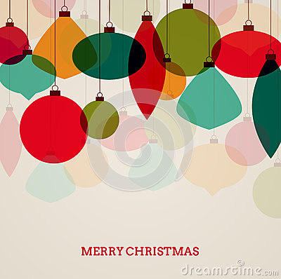 Free Vintage Christmas Card With Colorful Decorations Royalty Free Stock Photography - 32848167