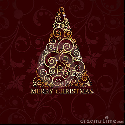 Free Vintage Christmas Card With Holiday Tree Stock Photography - 16860442