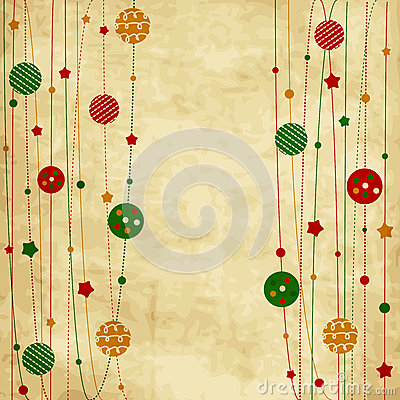 Vintage Christmas card with xmas balls and stars