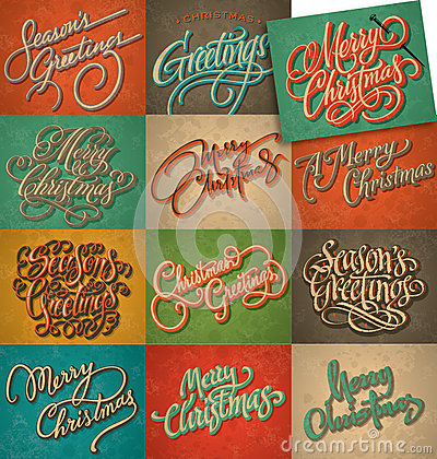 Free Vintage Christmas Cards Set (vector) Stock Images - 28158304