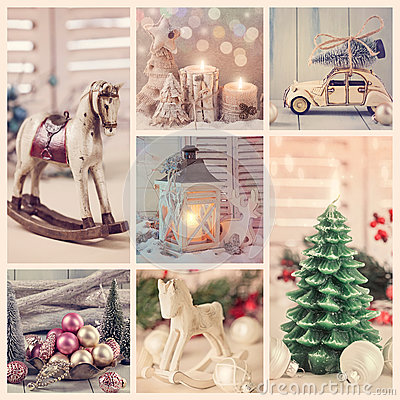 Free Vintage Christmas Collage Royalty Free Stock Photos - 62863168