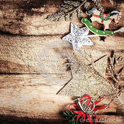 Vintage Christmas Decoration on natural wooden textured backgrou