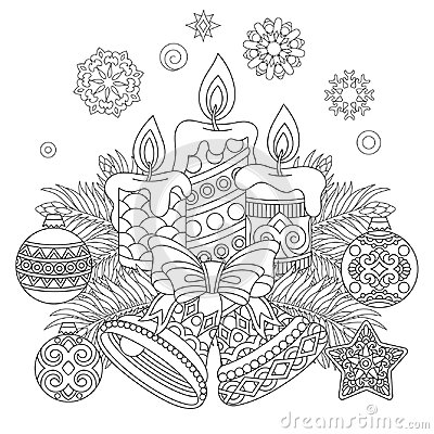 Vintage Christmas decorations for greeting card Vector Illustration