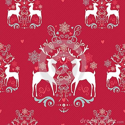 Free Vintage Christmas Elements Seamless Pattern Backgr Stock Image - 33756691