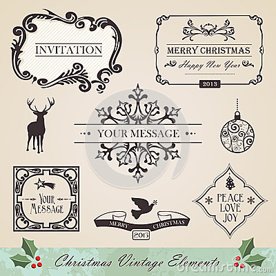 Vintage christmas elements set