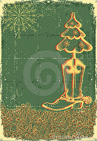 Free Vintage Christmas Green Card Royalty Free Stock Photography - 21836107