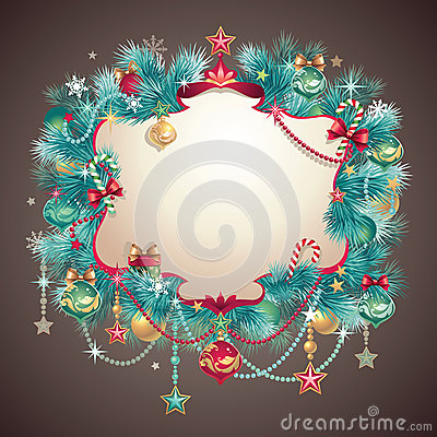 Free Vintage Christmas Greeting Banner Royalty Free Stock Photos - 27979938