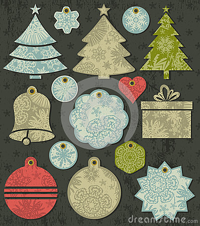 Vintage christmas labels over grunge brown backgro