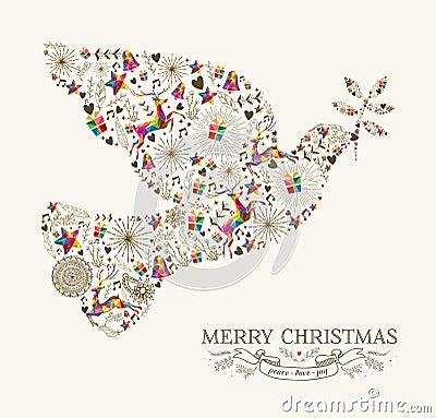 Free Vintage Christmas Peace Dove Greeting Card Stock Photos - 46639213