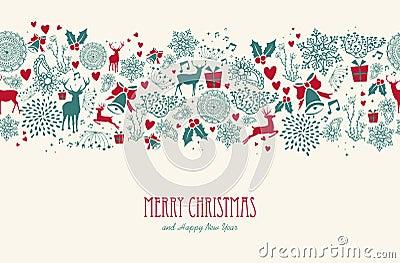 Vintage Christmas reindeer seamless pattern backgr Vector Illustration