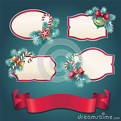 Free Vintage Christmas Ribbon Tag Label Set Stock Photography - 27982292