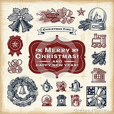 Free Vintage Christmas Set Stock Photos - 47216713