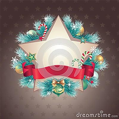 Vintage Christmas star shape banner