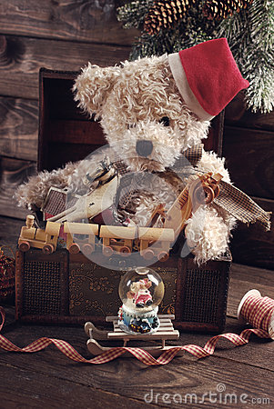 Free Vintage Christmas Toys For Boys In Old Treasure Chest Stock Image - 63493141