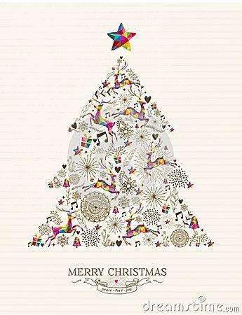 Free Vintage Christmas Tree Greeting Card Royalty Free Stock Photos - 45647858
