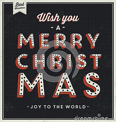 Vintage Christmas Typographic Background