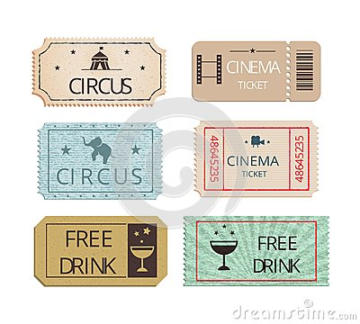 Free Vintage Cinema Circus And Party Tickets Set Stock Photos - 44573453