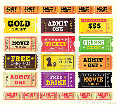 Free Vintage Cinema Tickets. BIG COLLECTION. Royalty Free Stock Photos - 11591518