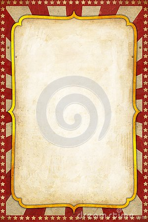 Vintage Circus Poster Background with golden frame red sunburst and stars Stock Photo